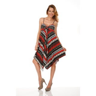 White Mark Women's 'Lisbon' High-low Printed Sundress