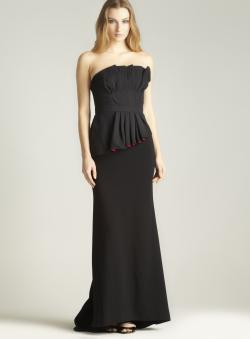 Carmen Marc Valvo Strapless Peplum Crepe Dress