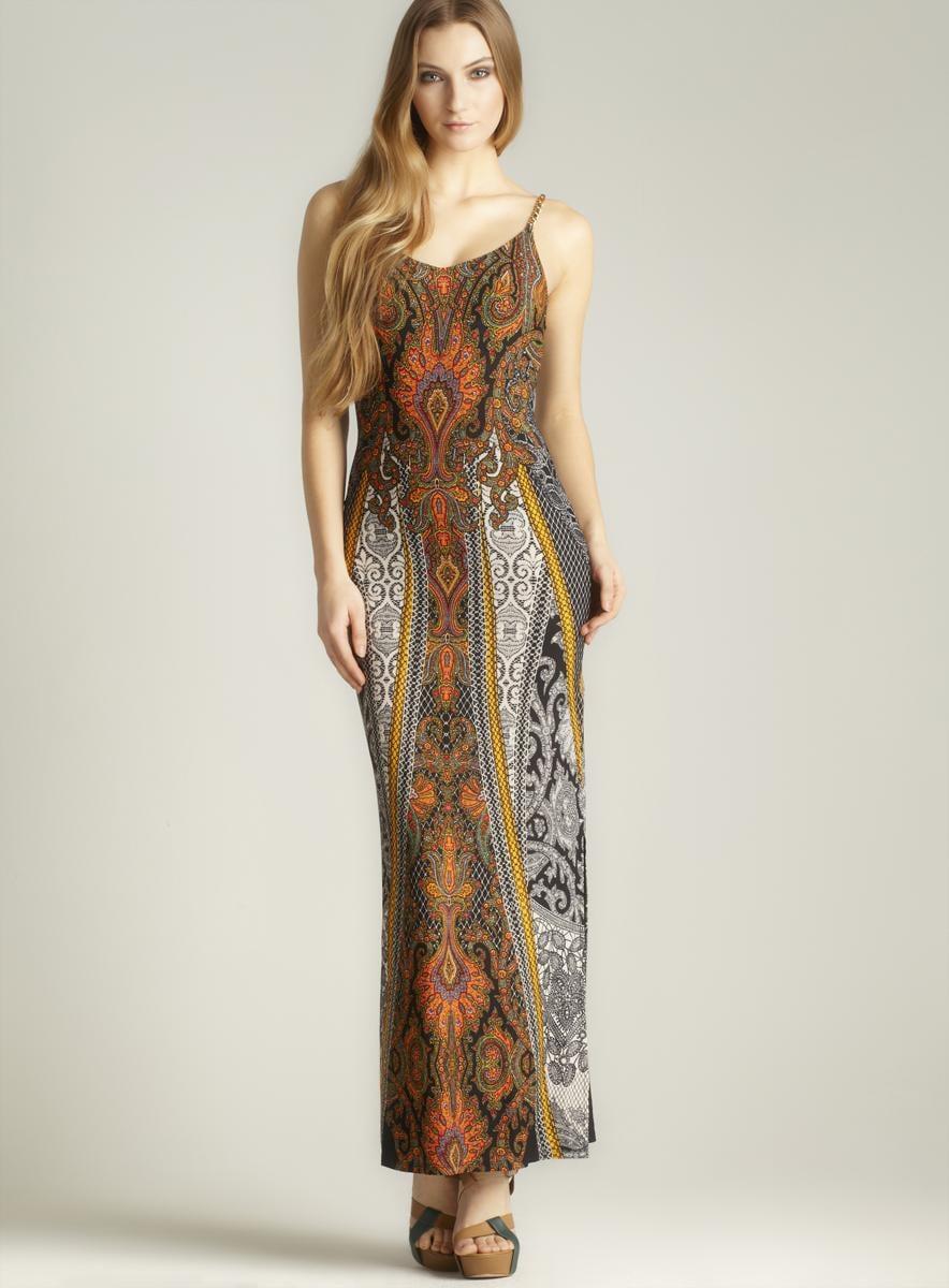 Moa Moa V-neck Printed Maxi Dress