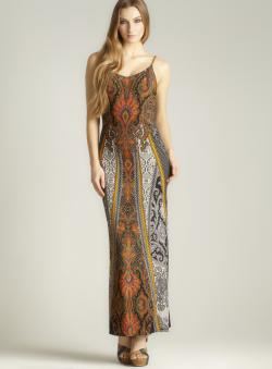 Moa Moa V-neck Printed Maxi Dress