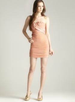 Romeo & Juliet Couture Strapless Pleated Rosette Dress
