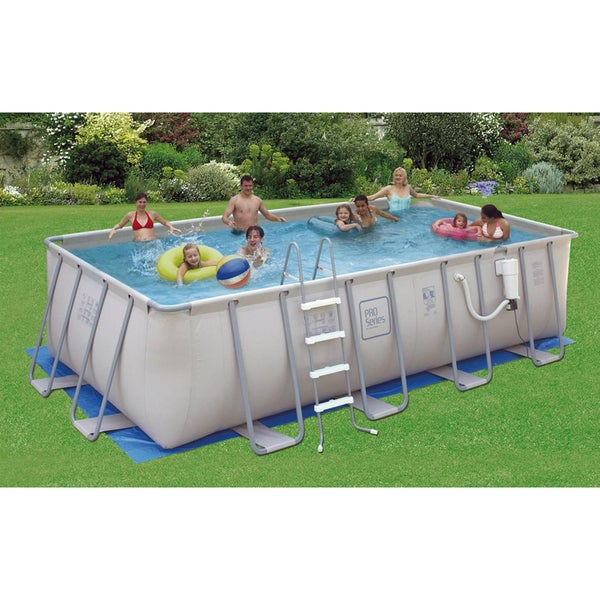 Pro series 9 ft x 18 ft rectangular 52 in deep metal frame swimming pool package overstock for A rectangular swimming pool is 6 ft deep