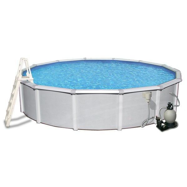 Samoan Round 52-inch Deep, 8-inch Top Rail Swimming Pool Package