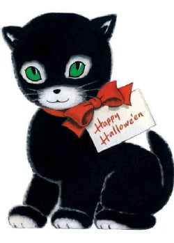 Happy Halloween Black Cat Halloween Greeting Card (Cards)