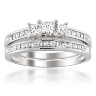 Platinum 1 1/2ct TDW Diamond 3-stone Bridal Ring Set (H-I, I1-I2)