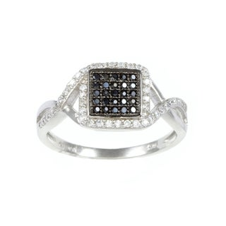 La Preciosa Sterling Silver Black and White Cubic Zirconia Square Ring