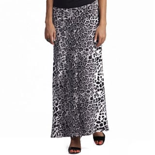 Tabeez Women's Animal Print Foldover Maxi Skirt