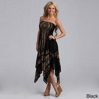 Lola P. Women's Gold Print Strapless Hanky Dress