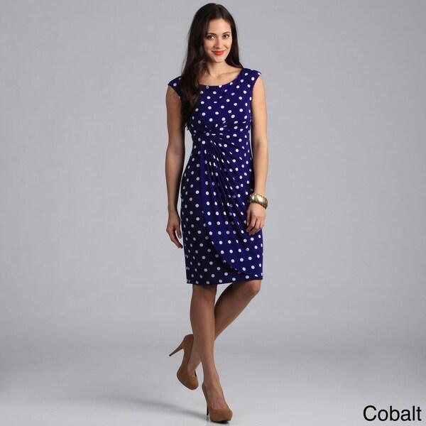 Connected Apparel Women's Polka Dot Print Cap Sleeve Draped Dress
