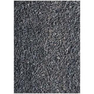 Handwoven Art Leather Black Shaggy Rug (6' x 9')