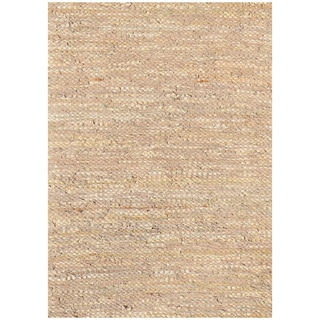Handwoven Beige Leather Flatweave Rug (5' x 8')