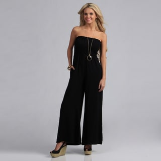 Angie Black Smocked Bodice Long Jumpsuit