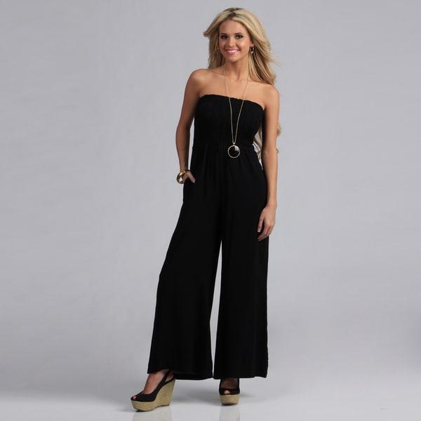 Angie Black Smocked Bodice Long Jumpsuit