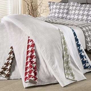 German Flannel Striped Reversible 3-piece Duvet Cover Set