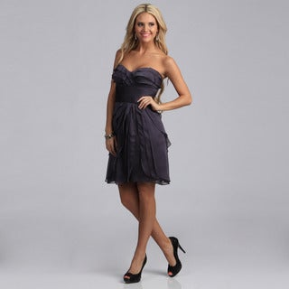 Adrianna Papell Women's Smoke Sleeveless Tiered Party Dress