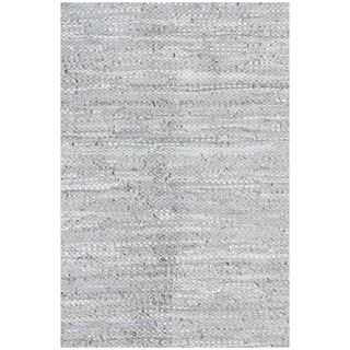 Handwoven Silver Leather Flatweave Rug (5' x 8')