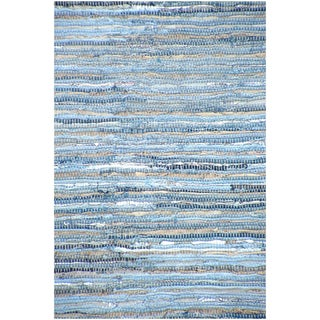 Handwoven Denim Leather/ Cotton Flatweave Rug (5' x 8')