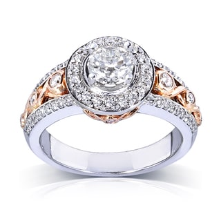 14k Gold 1 1/10ct TDW Certified Diamond Engagement Ring (G-H, SI1-SI2)