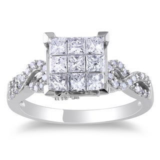 Miadora 10k White Gold 1ct TDW Princess Cut Diamond Ring (H-I, I2-I3)