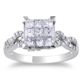 10k White Gold 1ct TDW Princess Cut Diamond Ring (H-I, I2-I3)