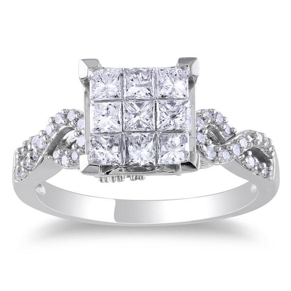 Miadora 10k White Gold 1ct TDW Princess Cut Diamond Ring (H-I, I2-I3)
