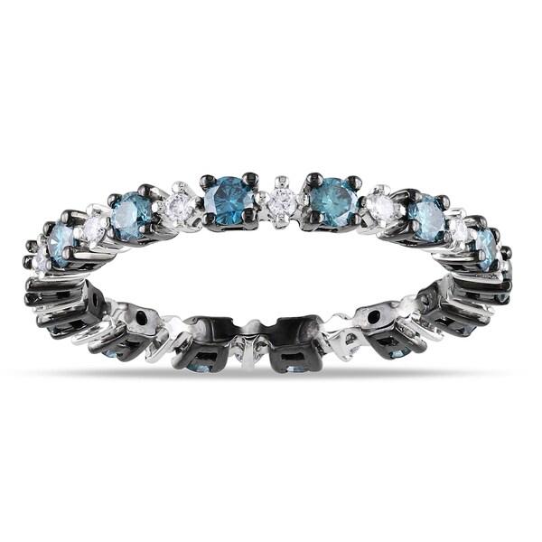 Shira Design 14k Black Gold 3/4ct TDW Blue and White Diamond Ring (G-H, SI1-SI2)