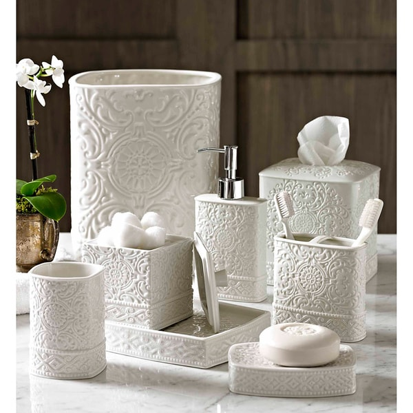 Scroll bath accessory collection 15214647 overstock for Bathroom accessories sale