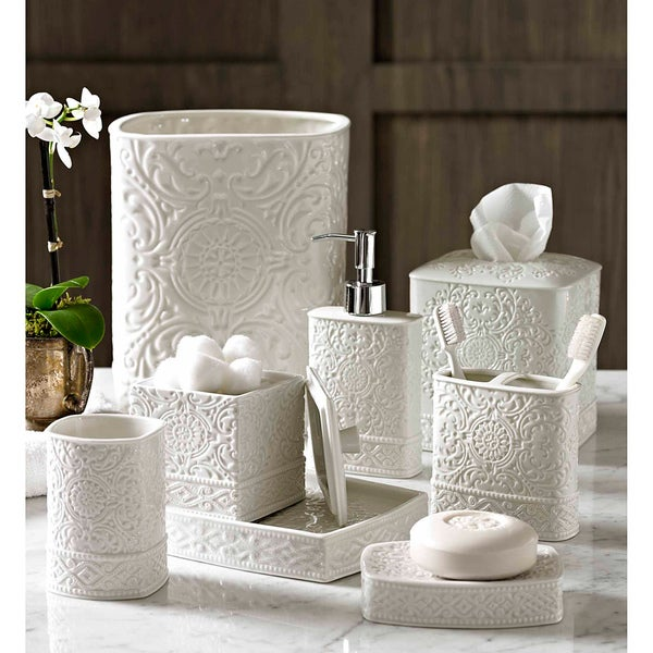 Scroll bath accessory collection 15214647 overstock for Bathroom accessories collection