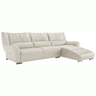 Giovanni White Italian Leather Sectional Sofa