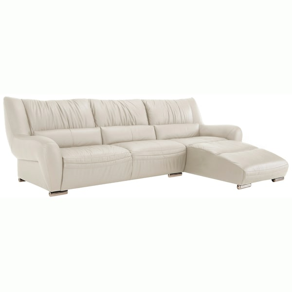 White Leather Sectional : Giovanni White Italian Leather Sectional Sofa - 15214636 - Overstock ...