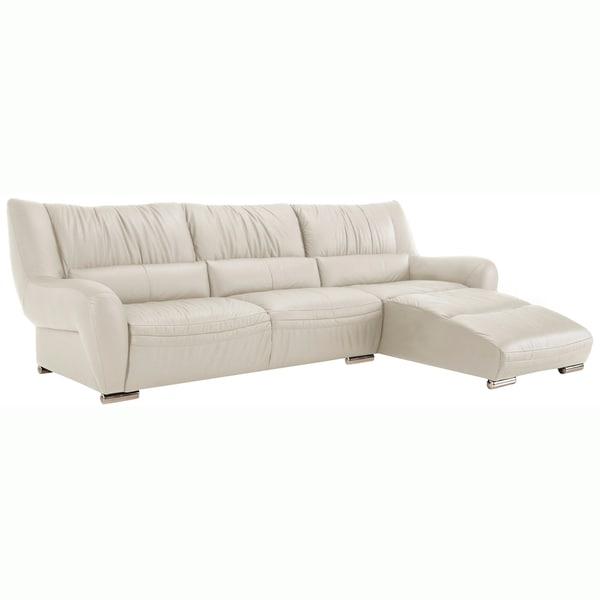 Giovanni White Italian Leather Sectional Sofa 15214636