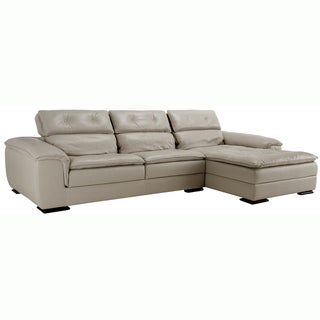 Giorgio Gray Italian Leather Sectional Sofa