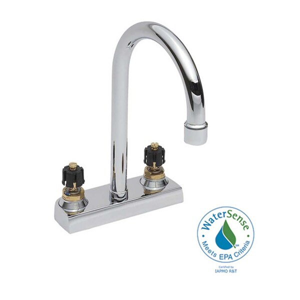 Heritage 4-inch Centerset Less Handles Gooseneck Chrome Bathroom Faucet
