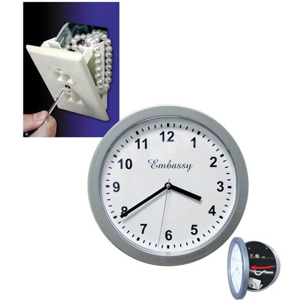 Hidden Wall Outlet Safe/ Hidden Silver Wall Clock Safe