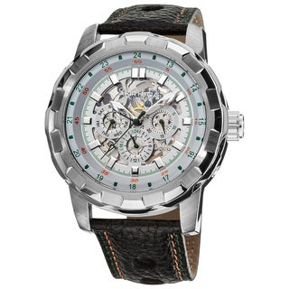 Akribos XXIV Men's Automatic Multifunction Watch with Genuine Leather Strap