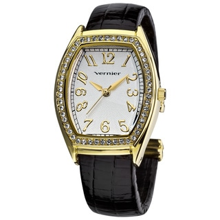 Vernier Ladies Gold Tone Genuine Crystal Stone Bezel Lizard Embossed Bangle Watch