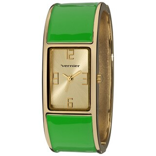 Vernier Women's Colorful Block Green Bangle Fashion Watch