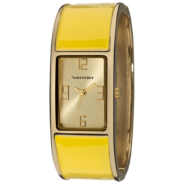 Vernier Ladies Colorful Block Yellow Bangle Fashion Watch