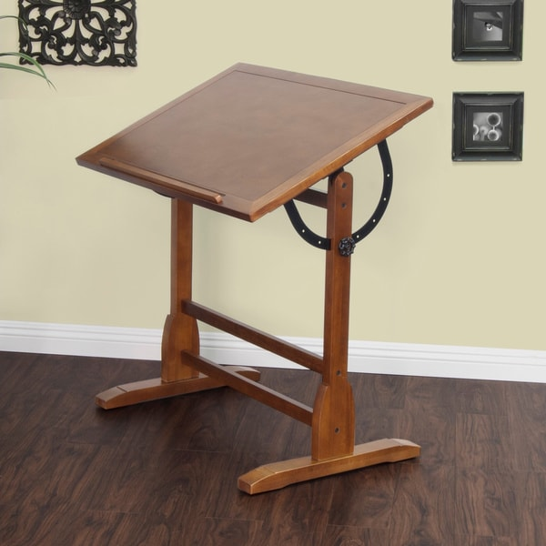 Studio Designs 36 x 24 Rustic Oak Vintage Drafting and Hobby Craft Table