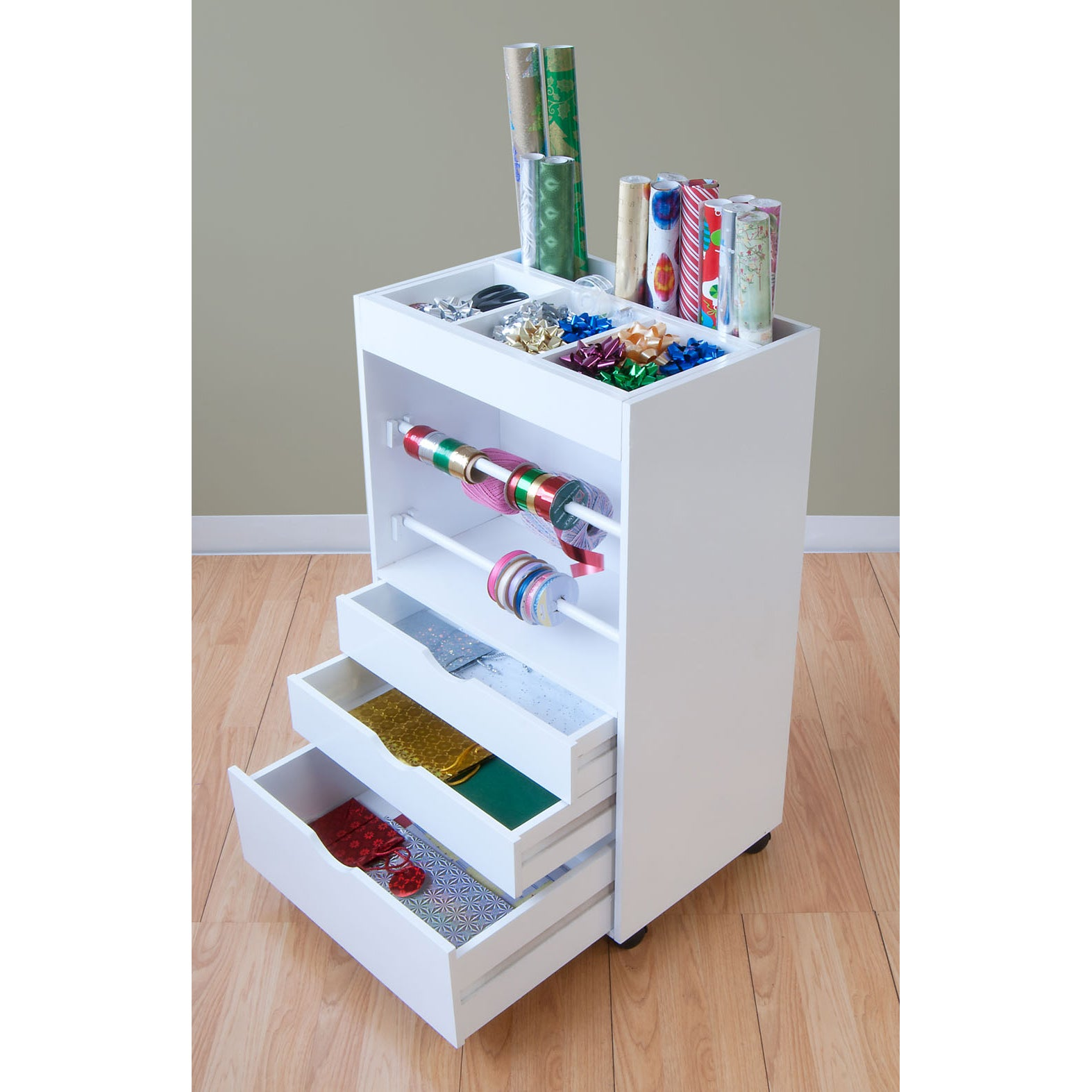 new white wrapping storage container cart 3 drawer gift. Black Bedroom Furniture Sets. Home Design Ideas