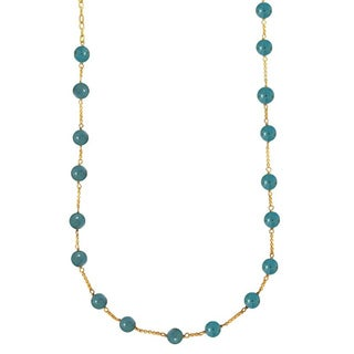 14k Gold over Sterling Silver Stabilized Turquoise Bead Necklace