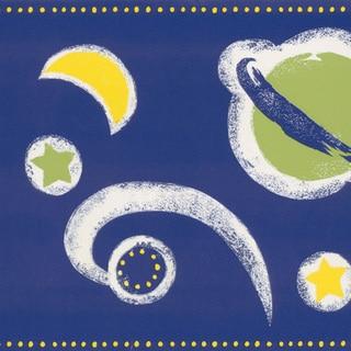 Brewster Dark Blue Space Border Wallpaper
