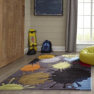 Hand-tufted Momeni Lil' Mo Hipster Grey Splash Rug (4' x 6')