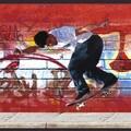 Brewster Red Skateboard Border Wallpaper