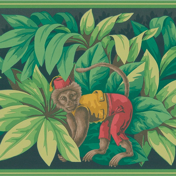 Brewster Red Monkey Border Wallpaper