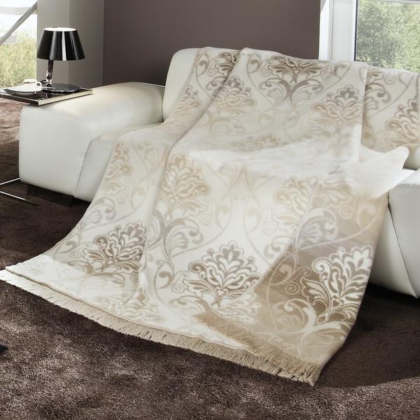 Bocasa Natural Floral Woven Throw Blanket