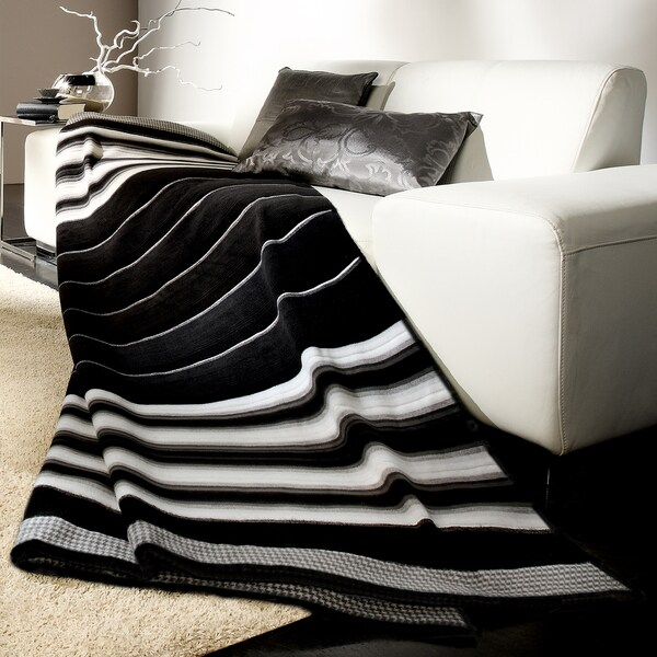 Bocasa Black Stripe Woven Throw Blanket