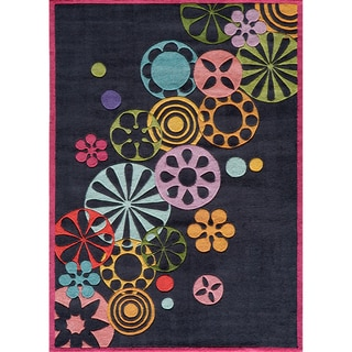 Hand-tufted Momeni Lil' Mo Hipster Black Pinwheel Rug (4' x 6')