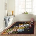 Hand-tufted Momeni Lil&#39; Mo Hipster Black Pinwheel Rug (2&#39; x 3&#39;)