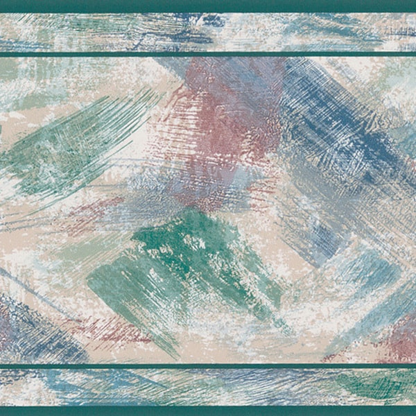 Brewster Green Brush Stroke Border Wallpaper